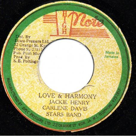 """(7"""") JACKIE HENRY - LOVE & HARMONY / HARMONY DUB"""