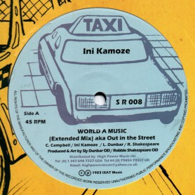 "(12"") INI KAMOZE - WORLD A MUSIC (Extented) / SLY & ROBBIE - OUT IN THE STREET"