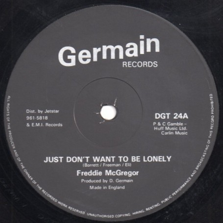 "(12"") FREDDIE McGREGOR - JUST DON'T WANT TO BE LONELY / VERSION"