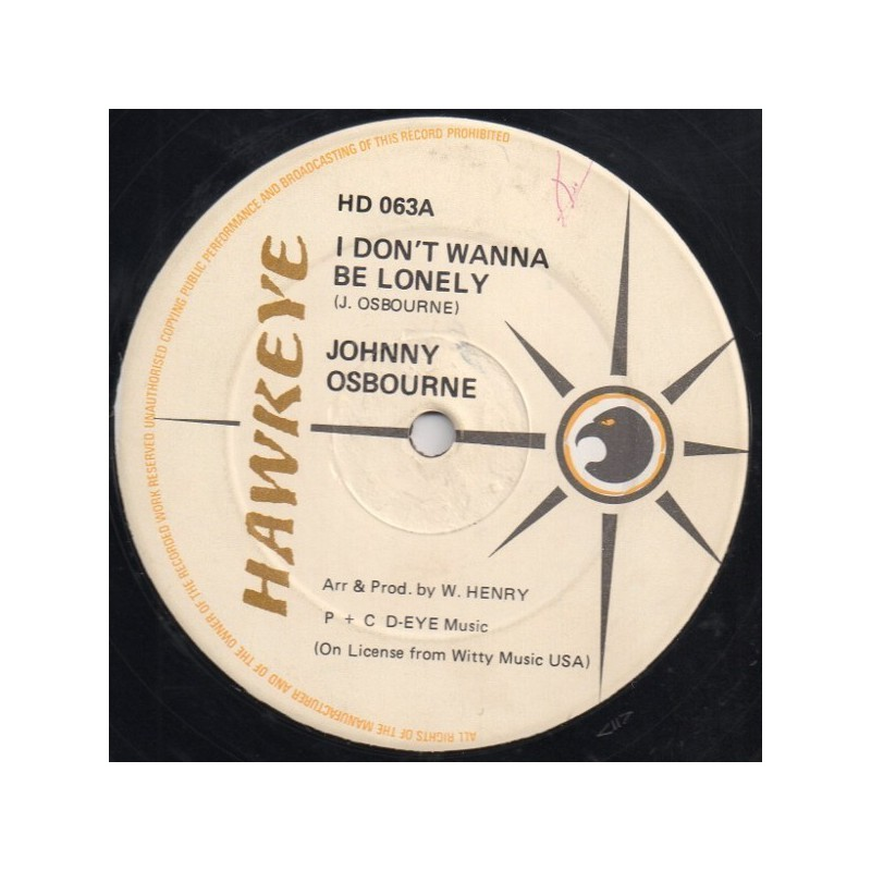 """(12"""") JOHNNY OSBOURNE - I DON'T WANNA BE LONELY / LONELY NIGHTS"""