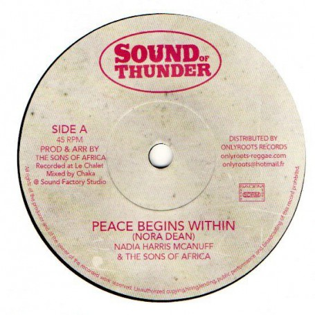 "(7"") NADIA HARRIS McANUFF & THE SONS OF AFRICA - PEACE BEGINS WITHIN / VERSION"
