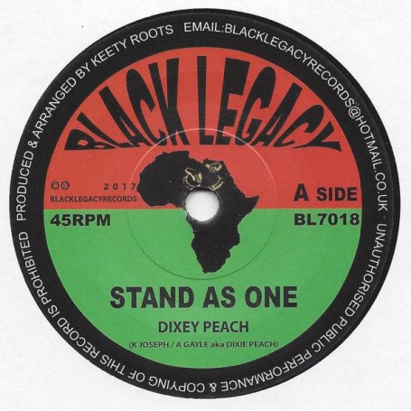 """(7"""") DIXEY PEACH - STAND AS ONE / KEETY ROOTS - DUB AS ONE"""