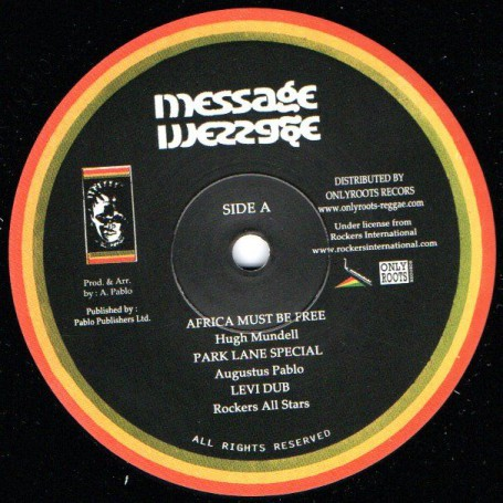 "(10"") HUGH MUNDELL - AFRICA MUST BE FREE / AUGUSTUS PABLO & ROCKERS ALL STARS - INSTRUMENTAL & DUBS VERSION"