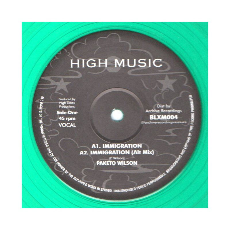 "(12"") PAKETO WILSON - IMMIGRATION / THE HIGH TIMES PLAYERS - IMMIGRATION VERSION"