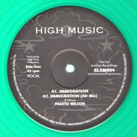 """(12"""") PAKETO WILSON - IMMIGRATION / THE HIGH TIMES PLAYERS - IMMIGRATION VERSION"""