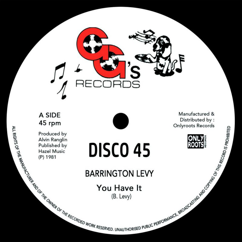 "(12"") BARRINGTON LEVY - YOU HAVE IT (Extended) / GG's ALL STARS - YOU HAVE A DUB"