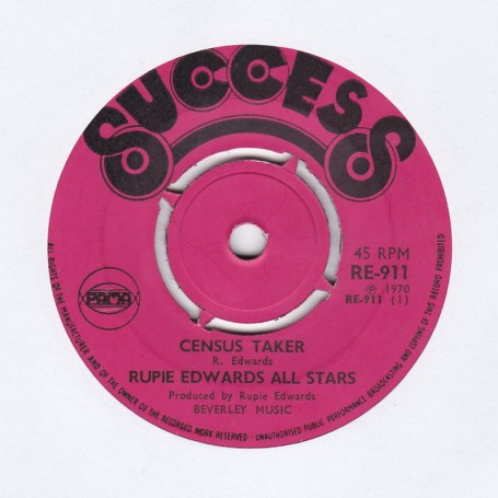"""(7"""") RUPIE EDWARDS ALL STARS - CENSUS TAKER / SOULING WAY OUT"""