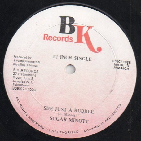 "(12"") SUGAR MINOTT - SHE JUST A BUBBLE / VERSION"