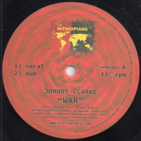 "(10"") JOHNNY CLARKE - WAR / HUGHIE IZACHAAR - WAR ROUND A BACK"