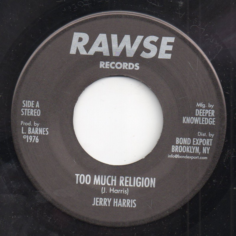 "(7"") JERRY HARRIS - TOO MUCH RELIGION / BABA LESLIE & JERRY HARRIS - RELIGIOUS DUB"