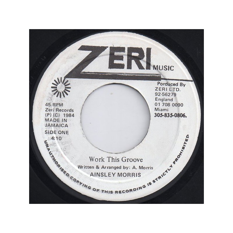 """(7"""") AINSLEY MORRIS - WORK THIS GROOVE / VERSION"""