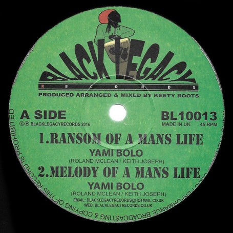 "(10"") YAMI BOLO - RANSOM OF A MANS LIFE / KEETY ROOTS - DUB OF A MANS LIFE"