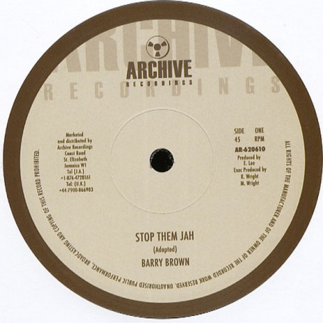 "(10"") BARRY BROWN - STOP THEM JAH / KING TUBBY - STOP THEM DUB"