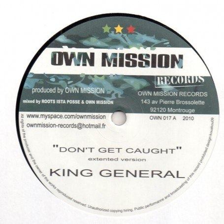 "(10"") KING GENERAL - DON'T GET CAUGHT / RIDDIM - BUN UP"