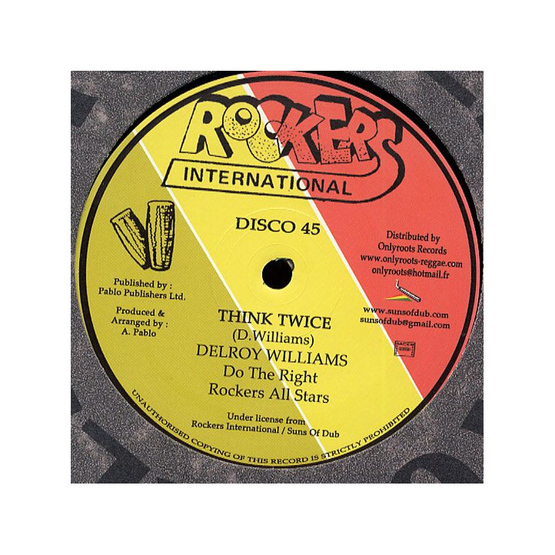 "(12"") DELROY WILLIAMS & AUGUSTUS PABLO - THINK TWICE (Extented) / BABYLON BOY (Extented)"