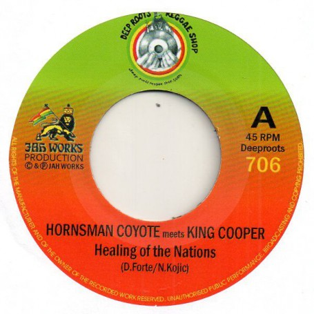 "(7"") HORNSMAN COYOTE MEETS KING COOPER - HEALING OF THE NATIONS / JAH REJ - HEALING DUB"