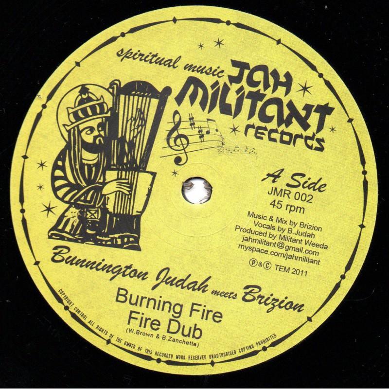 "(12"") BUNNINGTON JUDAH MEETS BRIZION - BURNING FIRE / BUNNINGTON JUDAH MEETS DON FE - WITH JAH"