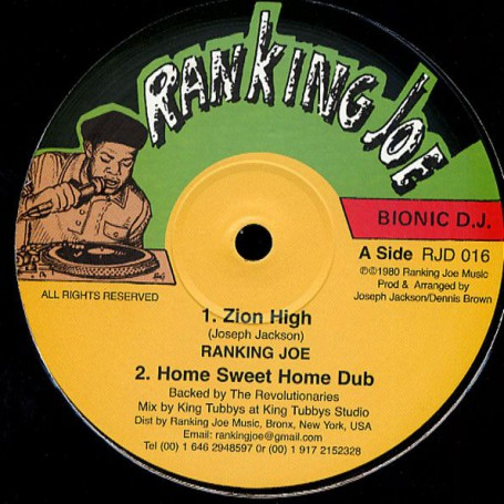 "(12"") RANKING JOE - ZION HIGH / DENNIS BROWN - HOME SWEET HOME"