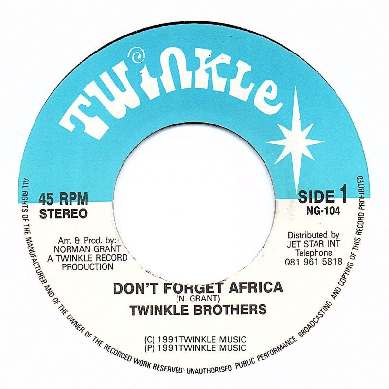 """(7"""") TWINKLE BROTHERS - DON'T FORGET AFRICA / VERSION"""